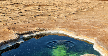 in  danakil ethiopia africa    the black lake with boiling oil and hot  Stock Photo