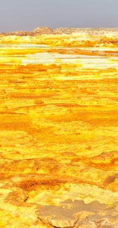 Danakil Depression in Ethiopia containing Dallol sulfur springs