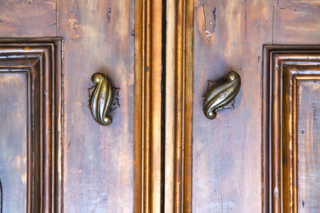 abstract  house door    in italy   lombardy   column  the milano old       closed nail