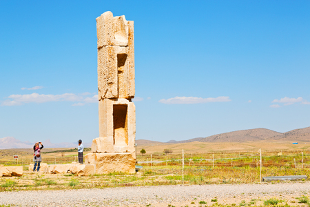 blur  in iran   pasargad the old construction  temple and grave column blur  Editorial