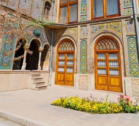 In Iran antique palace golestan gate and garden old heritage and historical place