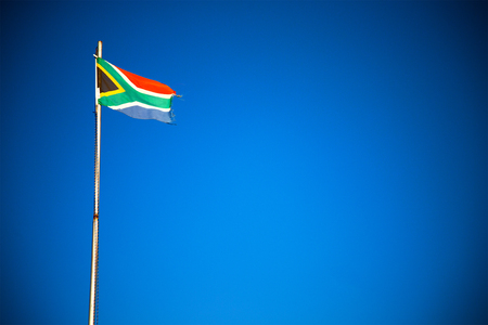 in south africa close up of the blur  national flag on pole 스톡 콘텐츠