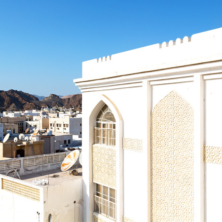in oman new house brick building    the city backgroun sky
