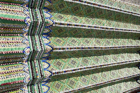 thailand abstract cross colored column ceramic   in the big wall temple bangkok Stock Photo