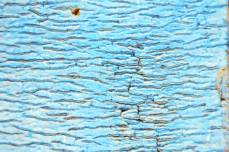 stripped paint in the blue wood door and rusty  nail Standard-Bild