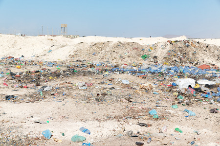 in  ethiopia africa the  discard garbage and plastic bottle near the city