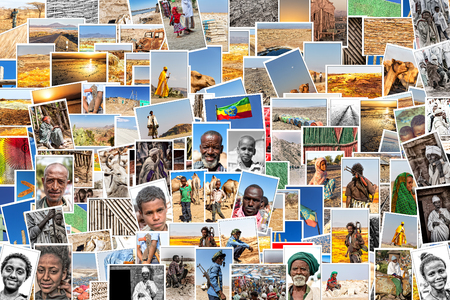 ETHIOPIA,DANAKIL-CIRCA  JANUARY 2018--unidentified  people drom my own images in a patchword
