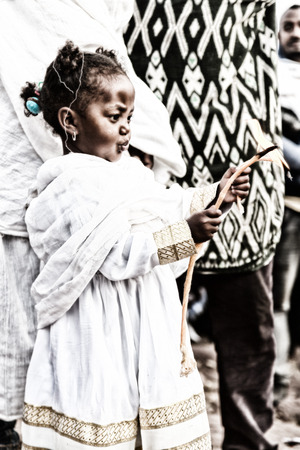 ETHIOPIA,LALIBELA-CIRCA  JANUARY 2018--unidentified   young girl in  the genna celebration Editorial