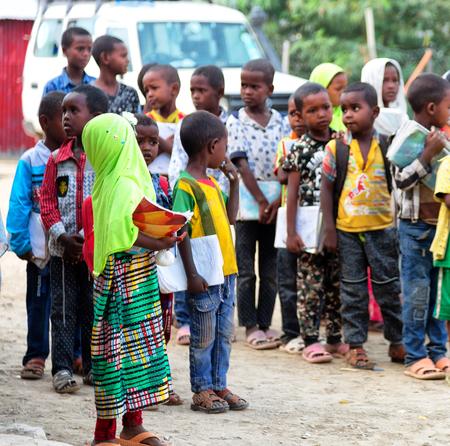 ETHIOPIA,DANAKIL-CIRCA  JANUARY 2018--unidentified  little children out of islamic school