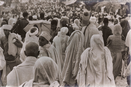 ETHIOPIA,LALIBELA-CIRCA JANUARY 2018--unidentified people in crowd of the genna celebration