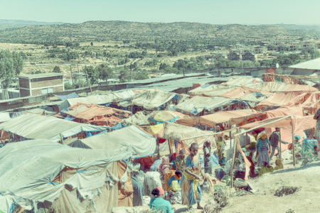 ETHIOPIA,LALIBELA-CIRCA JANUARY 2018--unidentified people in crowd of the market