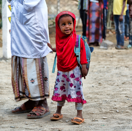 ETHIOPIA,DANAKIL-CIRCA  JANUARY 2018--unidentified  little girl out of islamic school Editoriali
