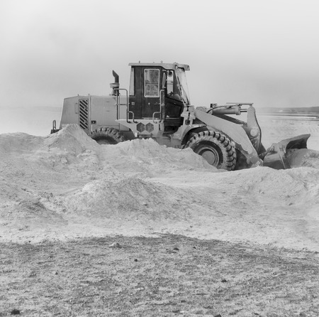 excavation machinery in black and white