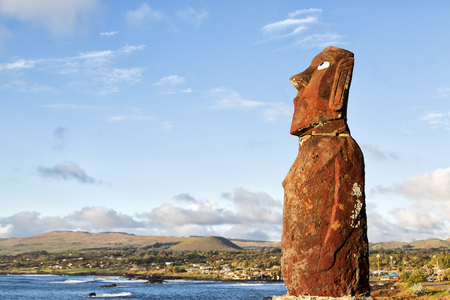in Chile Rapa Nui the antique and mysterious statue symbol of an  ancient culture