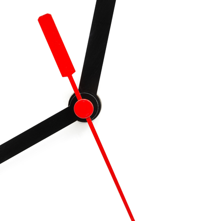 blur in the white background the clock and red arrow like concept of  waste time and work Stock Photo