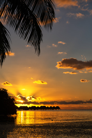 in polynesia bora bora  the sunset in the  coastline and resort like paradise concept and relax Stock fotó