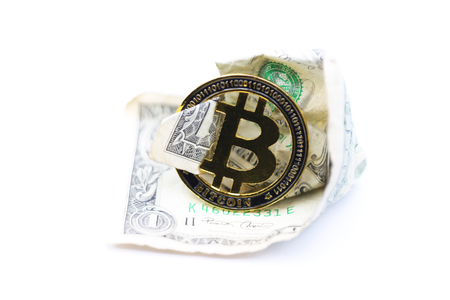 blurred crumpled dollar money and different bitcoin background like concept of problem and future Banque d'images