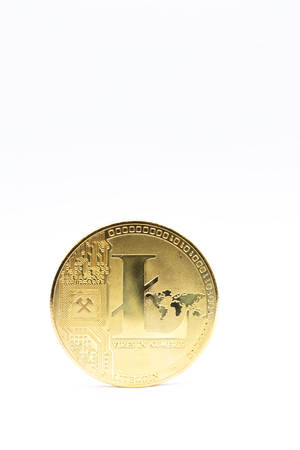 in the white background and copy space the coin of litecoin like concept of  future and investment