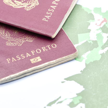 blur and passport in the world map background like concept of travel Stock Photo