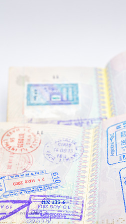 blur and passport in the white background like concept of travel and freedom lots of visa