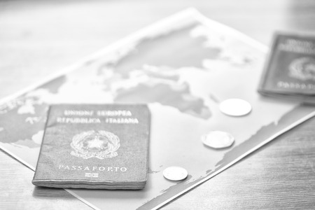 blur and passport in the world map background like concept of travel   in a table