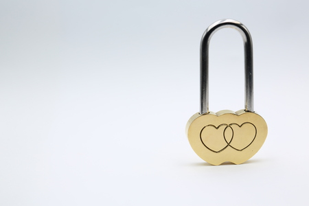 in the white background and copy space the love padlock  like concept of symbol and romantic