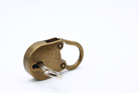 in the white background and copy space the padlock  like concept of security and protection