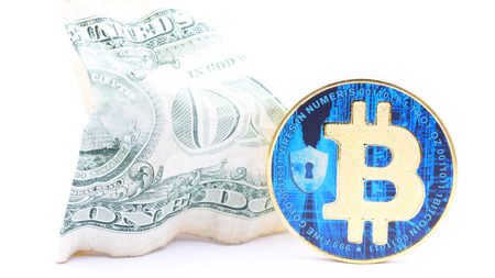 blurred crumpled dollar money and different bitcoin background like concept of problem and future Stock fotó
