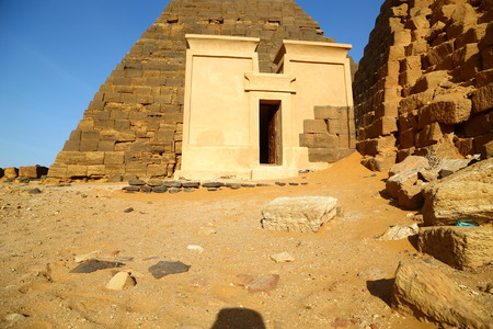 in africa sudan meroe the antique pyramids of the black pharaohs in the middle of the desert Stock fotó