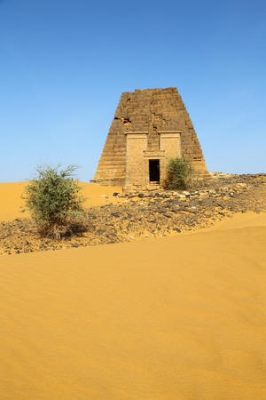 in africa sudan meroe the antique pyramids of the black pharaohs in the middle of the desert Stok Fotoğraf