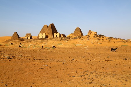in africa sudan meroe the antique pyramids of the black pharaohs in the middle of the desert Фото со стока