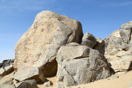in africa sudan sebu  the antique hieroglyphics of the black pharaohs in the rock near the nile