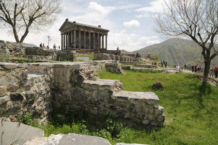 ARMENIA, GARNI-CIRCA MAY 2019--unidentified people near the antique temple