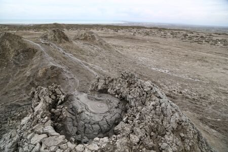 in azerbaijan gobustan the volcanic land and the liquid boiling mud