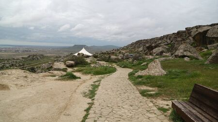 in azerbaijan gobustan the antique preistorical cave protect by unesco