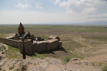 in armenia khor virap the old monastery medieval architecture near the mountain and the ararat Banco de Imagens - 124999178