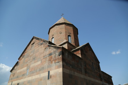 in armenia khor virap the old monastery medieval architecture near the mountain and the ararat Banco de Imagens - 124999183