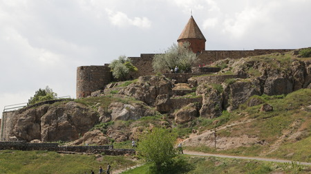 in armenia khor virap the old monastery medieval architecture near the mountain and the ararat Banco de Imagens - 124999197