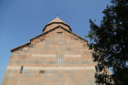 in armenia khor virap the old monastery medieval architecture near the mountain and the ararat Banco de Imagens - 124999200