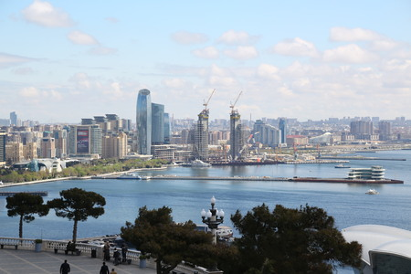 AZERBAIJAN, BAKU-CIRCA MAY 2019--unidentified people near the center of city