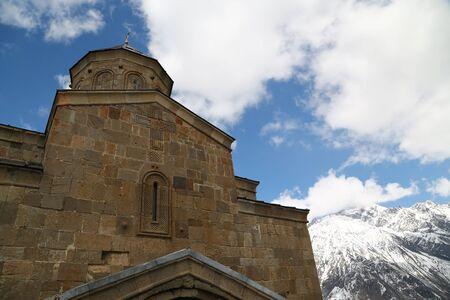 in georgia gergeti  the old monastery medieval architecture near the mountain