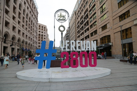 ARMENIA, YEREVAN-CIRCA MAY 2019--unidentified people near the center of city