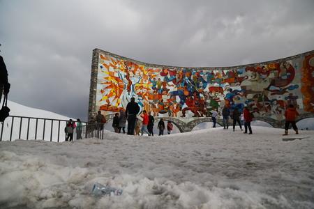 GEORGIA, KAZBEGI-CIRCA MAY 2019--unidentified people near the monument