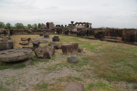ARMENIA, ZVARTNOTS-CIRCA MAY 2019--unidentified people near the antique  temple