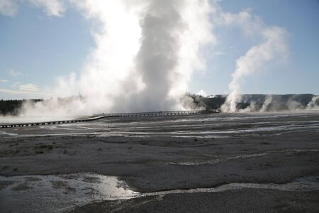 in USA inside the yellowstone national park the brauty of amazing nature tourist destination