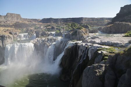 in USA the twin falls in idaho  the beauty of amazing nature tourist destination 版權商用圖片