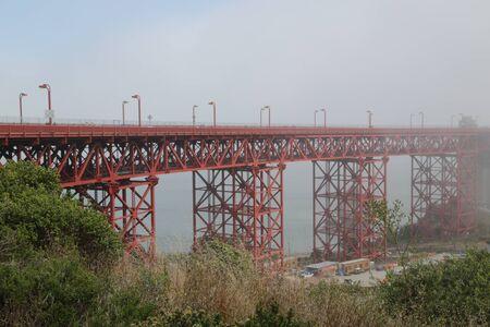 in USA san francisco the famous  golden bridge and the fog Reklamní fotografie