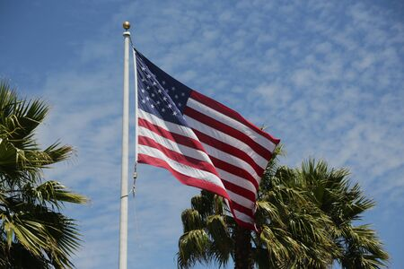 in USA the waving flag in the sky
