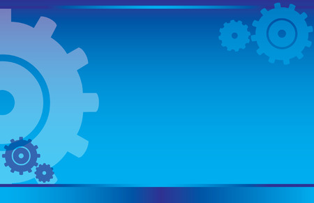postcard background: Blue Gears Postcard Illustration