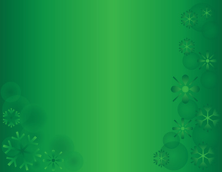 겨울 눈송이 휴일 배경 녹색 가로 일러스트